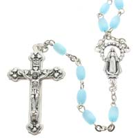 Oval Aqua Cats Eye With Miraculous Center Rosary