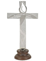 In Loving Memory Silver Standing Cross