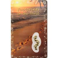 FootPrints in Sand Prayer Card & Charm