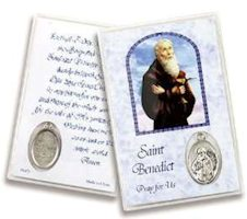 St Benedict Devotional Holy Card with Medal
