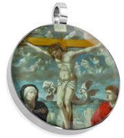 Jesus on Cross Round Stainless Steel Pendant