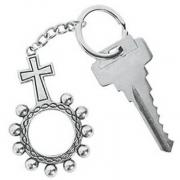 Key Chain Rosary Rings Silver