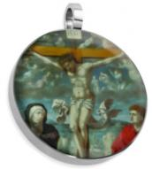 Jesus on Cross w People Stainless Pendant