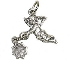 Angel Bracelet Medal Charm Holding a Crucifix