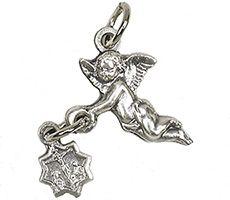 Angel Bracelet Medal Charm Holding a Crucifix