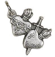 2 Hearts Bracelet Medal Charm