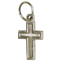 Silver Outline Cross Charm