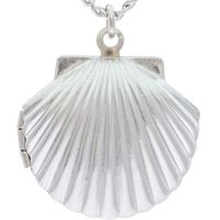 Baptism Shell Picture Locket Silver