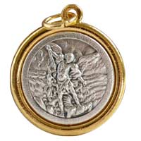 St Michael / Angel Medal Gold silver