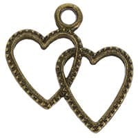 Double Heart Charm Bronze Pack of 12