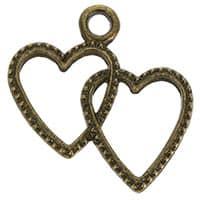 Double Heart Charm Bronze (Pkg of 12)