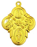 4 Way Catholic Gold Medal or Charm