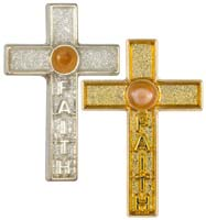 Faith Mustard Seed Cross Pin Gold