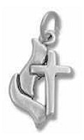 Cross and Flame Silver Charm