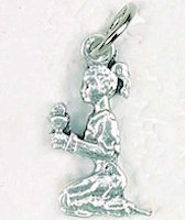 Praying Girl Pewter Charm