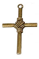 Cross Necklace Rope Center Bronze or Silver