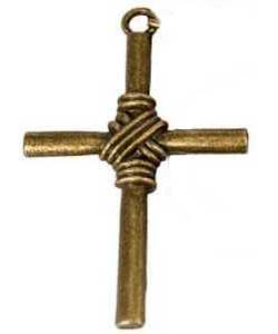 Bronze or Silver Rope Center Cross Pendant