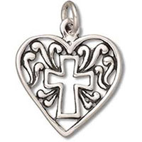 Filigree Heart with Cross Charms (Pkg of 4)