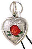 Heart With Rose Silver Charm