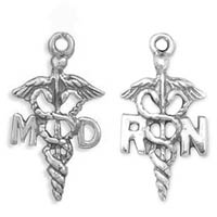 Sterling Silver MD and RN Caduceus Charms