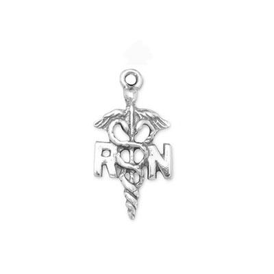 Sterling Silver Registered Nurse RN Caduceus Charm