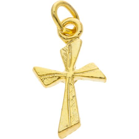 Twisted Cross Charm Gold
