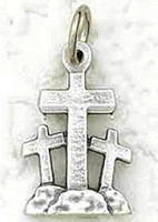 Three Crosses Easter Pewter Charm