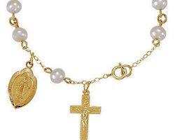 Freshwater Pearl & Gold Rosary Bracelet