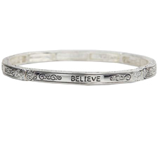 Believe Bangle Bracelet Silver