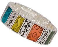 Fruits of the Spirit Wide Colorful  Bracelet Silver