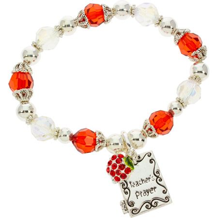 Teacher Apple Charm Stretch Bracelet