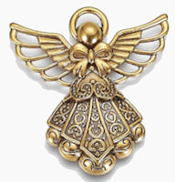Angel with Halo Golden Charm Pendant