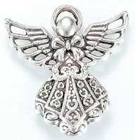 Angel with Halo Silver Charm Pendant