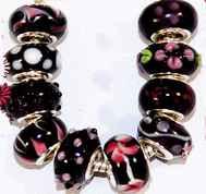 4 Black Pandora Style Murano glass Beads