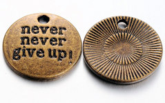 Never Never Give Up Charm Coin (Pkg of 12