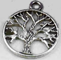 Tree of Life Round Charm Silver