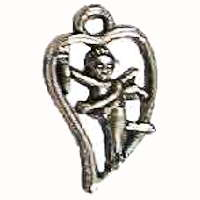 Cupid in Heart Love Charm Silver