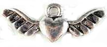 Angel Wings with  Heart Charms Pack of 6