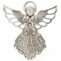 Angel with Halo Silver Pendant, Charm