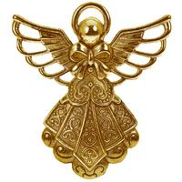Angel With Halo Charm - Pendant Gold Large