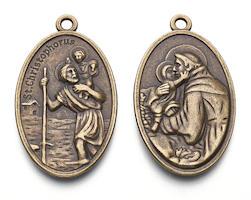 St. Christopher, Jesus Charm Bronze
