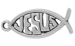 Jesus Fish Charm Silver (Pkg of 6)