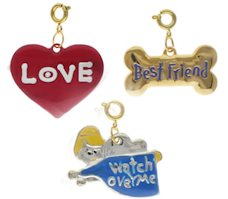 Angel, Love and Best Friend Dog Charm Set