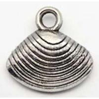 Baptism Shell Charm Silver Pewter