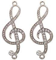 Music Staff Charms Rhinestone (Set of 2)