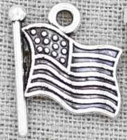 American Flag Charm Silver (Pkg of 12)