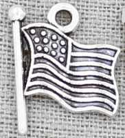 American Flag Charm Silver (Pkg of 12)