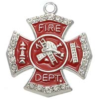 Firefighter Red Crystal Charms