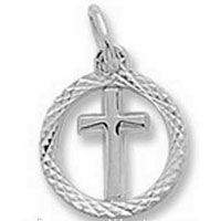 Cross in Circle Silver Charm