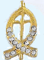 Jesus Fish Cross Gold Rhinestones Charms (Pkg of 12)